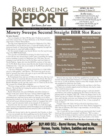 4/30 - Barrel Racing Report