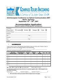 Accommodation Reservation Form - ECOC 2007