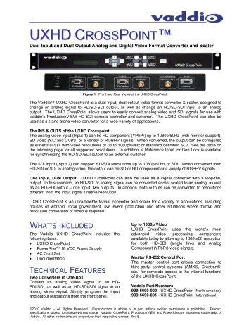 UXHD CrossPoint Tech Specs - Vaddio