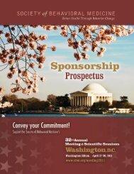 Sponsorship Prospectus - Society of Behavioral Medicine