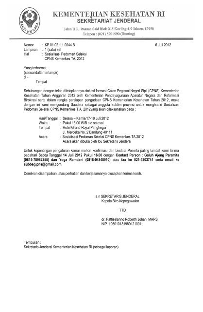 Surat Undangan Anggota Subtim Provinsi Ropeg Kemenkes