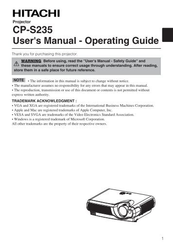 CP-S235 User's Manual - Operating Guide - Hitachi America, Ltd.