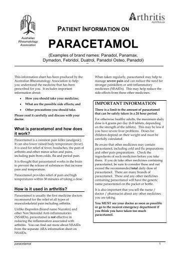 PARACETAMOL - Australian Rheumatology Association