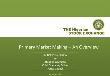 Primary Market Making – An Overview - The Nigerian Stock Exchange