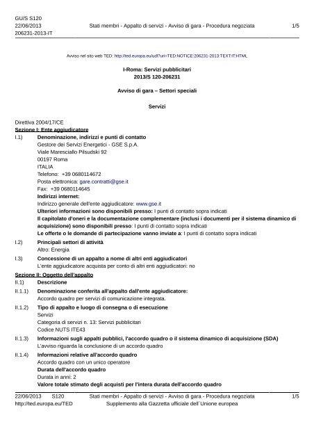 Avviso di gara GSE - Event Report