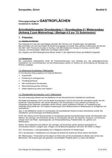 Schnittstellenpapier Grundausbau/Mieterausbau - Markt Lagerstrasse