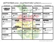 SEPTEMBER 2012 – ELEMENTARY LUNCH All meals served with ...