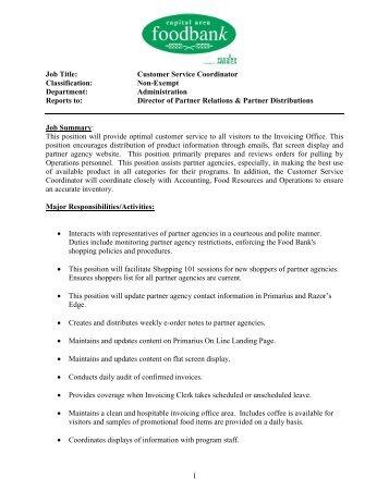 Job title facilities coordinator classification capital area job description capital area food bank pronofoot35fo Gallery