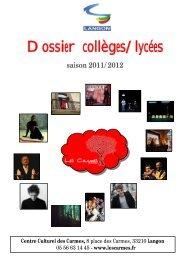 Dossier collèges/lycées - Centre Culturel des Carmes