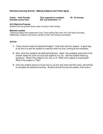 Workshop 2 Subjectverb Agreement