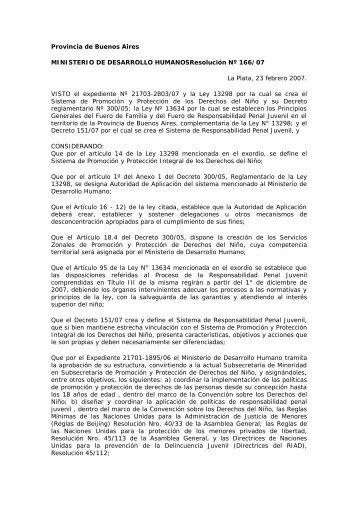 Resolución 166/2007 - Observatorio de Jóvenes y Adolescentes