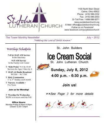 Sunday, July 8, 2012 4:00 pm - St. John Lutheran Church, Celina ...