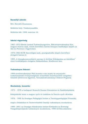 Dr. Horváth Zsuzsanna PhD - Wesley János Lelkészképző Főiskola