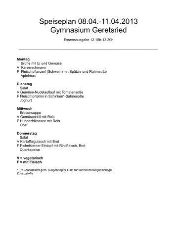 Speiseplan 08.04.-11.04.2013 Gymnasium Geretsried