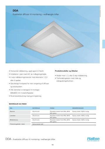 Kvadratisk diffusor til montering i nedhængte lofter - Halton