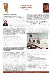 Rapport annuel 2006 - Couleurs Afrique
