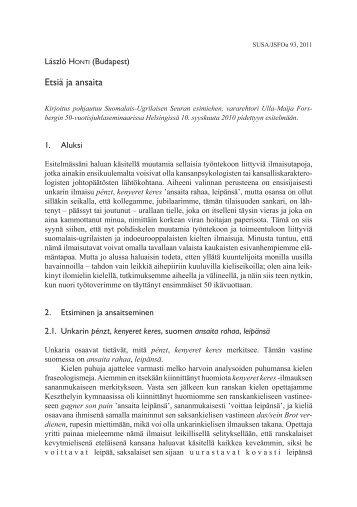 Etsiä ja ansaita (JSFOu 93) - Suomalais-Ugrilainen Seura