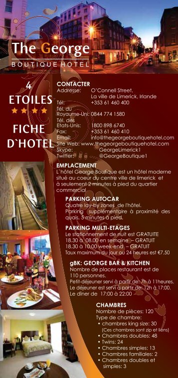 4 ETOILES FICHE D`HOTEL - The George Boutique Hotel
