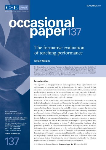 The formative evaluation of teaching performance (CSE 2014) secure