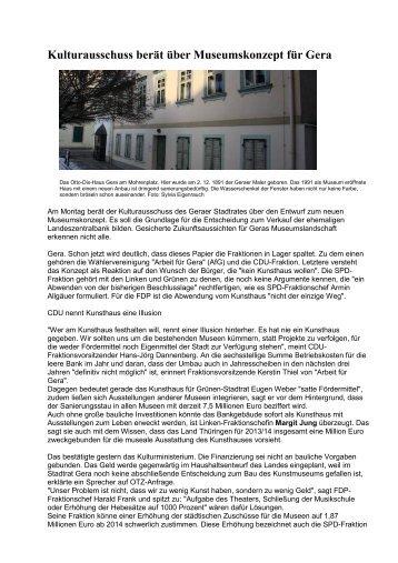 Kulturausschuss berät über Museumskonzept für Gera - Margit Jung ...