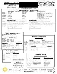 Summer Class Schedule 2013 - Flying High Gym