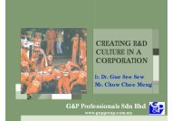 Creating R&D Culture in a Corporation - g&p geotechnics sdn. bhd.