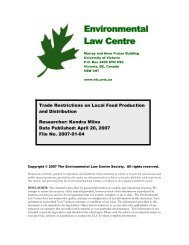 Legal barriers to local food production and distribution - The ...