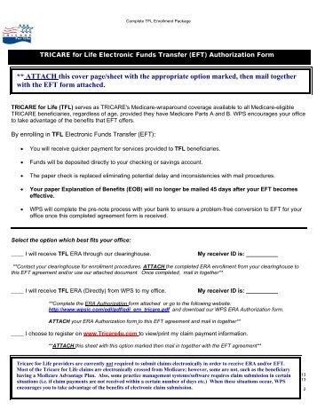 TRICARE for Life EFT form - WPS