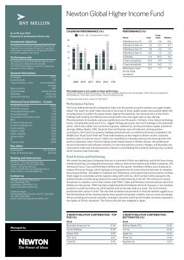 Newton Global Higher Income Fund - BNY Mellon Asset Management