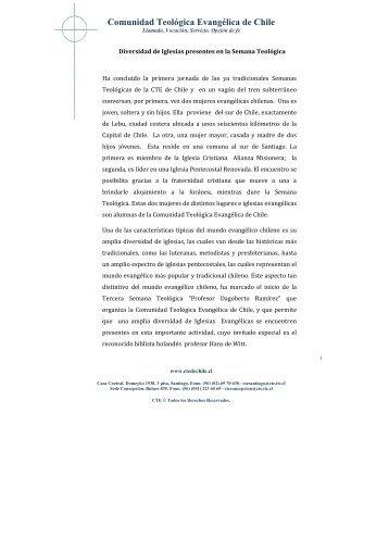 Ver más - Comunidad Teológica Evangélica de Chile