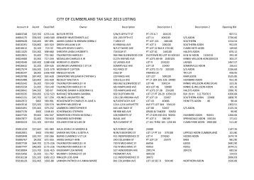 5-21-2013 Cumberland tax sale list - City of Cumberland, Maryland