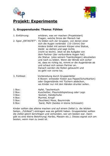 Gruppenstunden: Experiment Sinne - VCP Land Niedersachsen