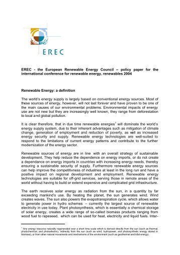EREC - the European Renewable Energy Council – policy paper for ...