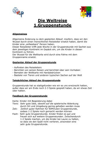 Gruppenstunden: Die Weltreise - VCP Land Niedersachsen