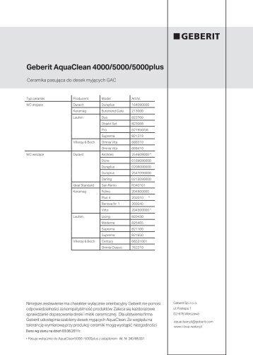 Geberit AquaClean 4000/5000/5000plus