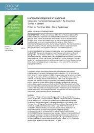 Human Development in Business - Humanistic Management Center