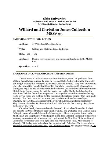 Willard and Christina Jones Collection - OHIO University Libraries