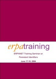 ERPANET Training Seminar on Persistent Identifiers
