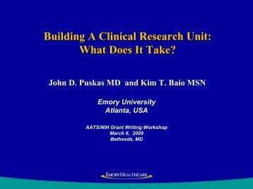Developing a Clinical Research Program (What it Takes) - American ...