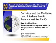 Corridors and the Maritime / Land Interface - Canada's Asia-Pacific ...