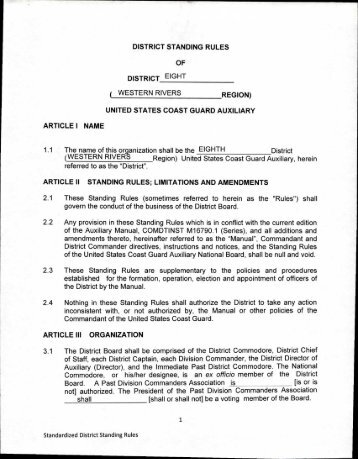 DISTRICT STANDING RULES OF DISTRICT ( WESTERN RIVERS ...