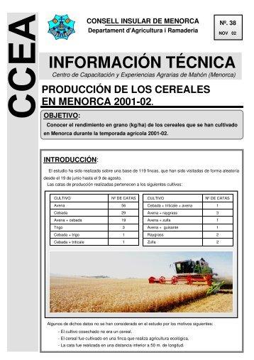 38. producción de los cereales en menorca 2001-02.