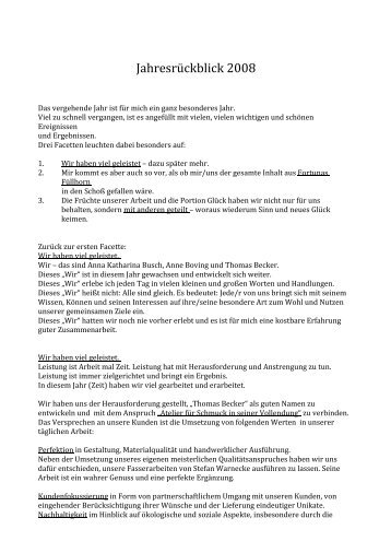 Jahresüberblick 2008 (PDF) - Thomas Becker Atelier für Schmuck