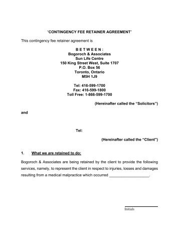 Contingency Fee Agreement And Retainer Agreement  State Bar Of