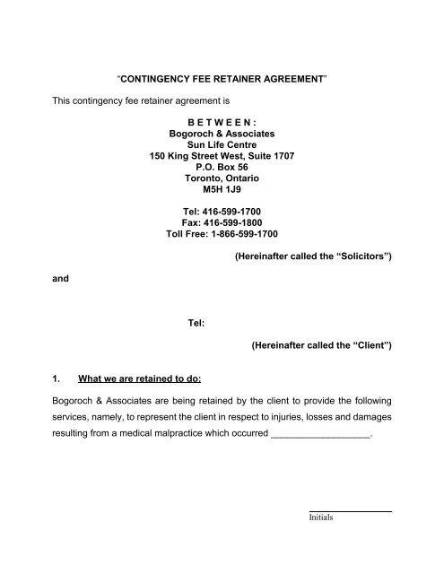Sample Contingency Fee Retainer Agreement Bogoroch