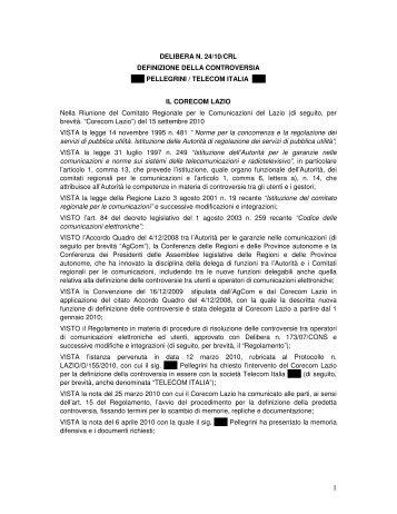 DELIBERA N. 24/10/CRL DEFINIZIONE DELLA ... - Corecom Lazio