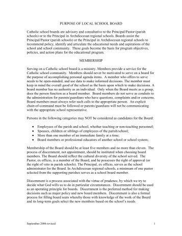 School Board Handbook - Archdiocese of Galveston-Houston