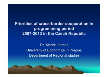 Priorities of cross-border cooperation in programming ... - spa-ce.net