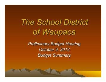 2012-2013 Preliminary Budget Hearing Presentation