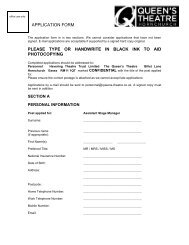 APPLICATION FORM - The Queen's Theatre